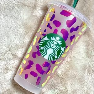 Holographic Purple/Gold Cheetah Starbucks Cup